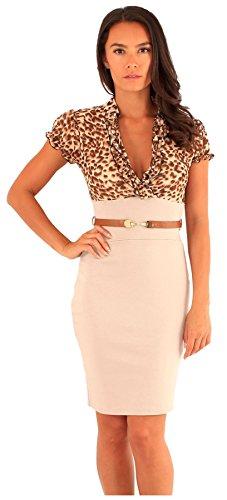 Neuer Frauen Tierdruck Chiffon mit Puffärmeln 2 In1 BodyCon Kleid mit Gürtel 36-42 Beige-Animal Print
