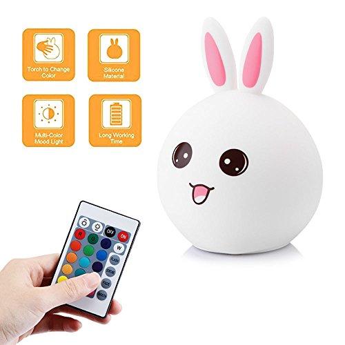 LED Nachtlicht,Silikon Multifunktionaler Fernbedienung USB Wiederaufladbar für Baby Kinder Erwachsene Schlafzimmer Wohnzimmer
