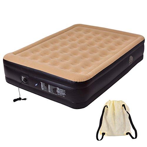 Luftbett Luftmatratze Gästebett Camping Reisebett Feldbett Matratze Bett mit Pumpe aufblasbar 203x157x47cm (Queen-matratze-tasche)