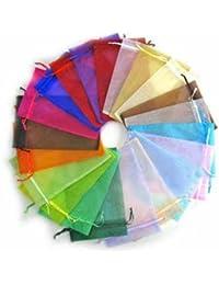 PandaHall - Lot de 100pcs Sachets Pochettes Cadeau en Organza , Mixte Couleur, environ 7cmx9cm
