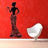 lyclff Applique Murale Vinyle Autocollant Salon de beauté Fille élégante Robe...