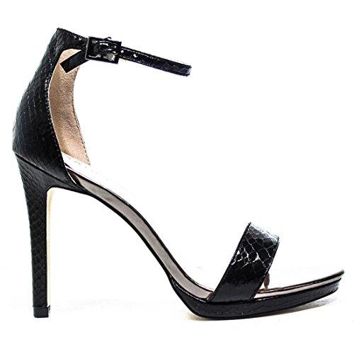 Gaudì Sandalo con Tacco Alto in Pelle pitonata colore Nero Articolo n. V63-64589P Snake Metal Blk Nuova Colezione Primavera Estate 2016 V63 64589P