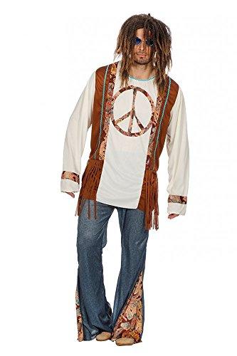 Hippie Piece Herren-Kostüm mit Jeans-Schlaghose 60er 70er Jahre Seventies Sixties Flower Power, Größe:56
