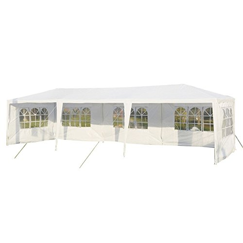 MCTECH Festzelte Gartenzelt Pavillon Bierzelt Partyzelt Festpavillon, Wasserdicht PE Plane Camping Vereinszelt, Weiß, 3 x 9m mit 5 Seitenwände