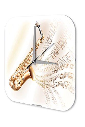 LEotiE SINCE 2004 Wanduhr mit geräuschlosem Uhrwerk Dekouhr Küchenuhr Baduhr Star Deko Saxophon Noten Acryl Fun Uhr Vintage Retro