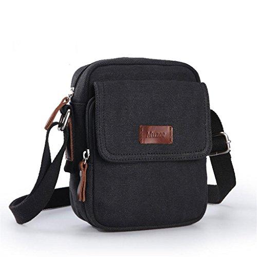 Global-Schulterbeutel der Männer Segeltuchtasche kleinen Rucksack Outdoor-Sport und Freizeit Retro Messenger Tasche Mann Tasche Black (reichen)