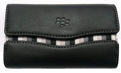 Original Blackberry Schwarz Leather Folio Hülle / Cover / Tasche Mit Weißen Nähten Bulk Pack Geeignet Für Blackberry Q10 + Emartbuy ® Screen Protector