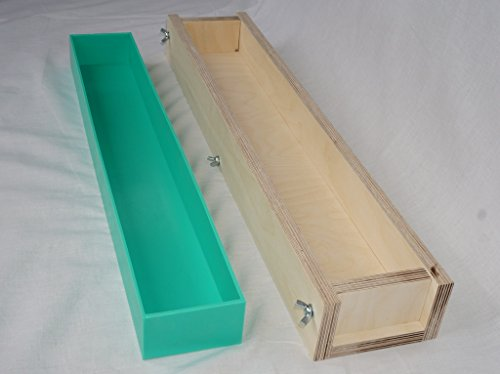 Soap Loaf Mold. Wooden box and silicone liner. 3 litre capacity. 610mm x 90mm x52mm