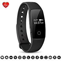 Bracelet Connecté, Macrourt Montre Connectée Sport Fitness Tracker d'Activité avec Bluetooth Montre Cardio ÉtancheIP67avec Cardiofréquencemètres, Podomètre, Distance, Calorie, pour IOS Android (APP Gratuit) (Noir)