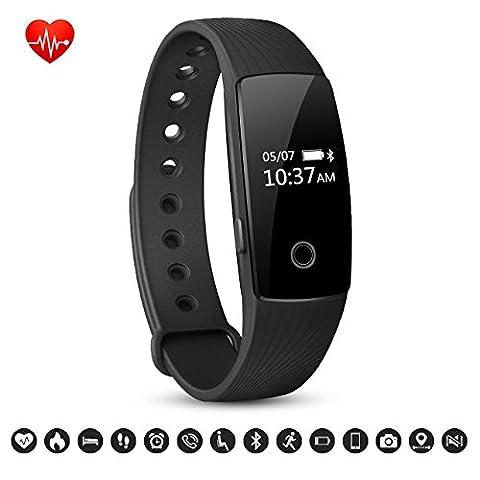 Bracelet Sport Activité Montre Connectée, NickSea Fitness Tracker d'Activité Bluetooth avec Cardiofréquencemètres, Podomètre, Distance, Calorie, Pour iPhone Android Smartphones - Noir (APP Gratuit)