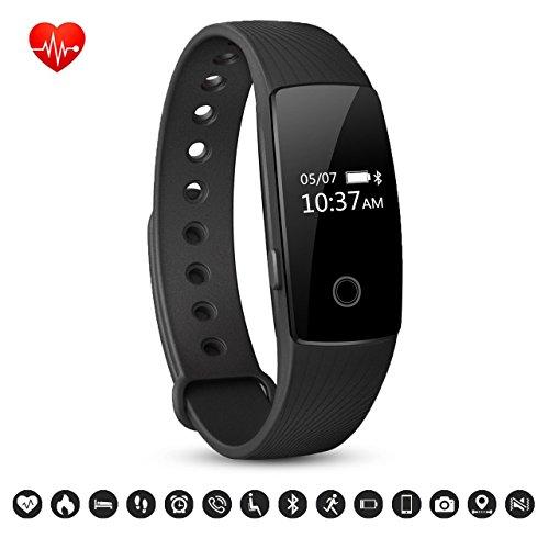Bracelet Connecté, Macrourt Montre Connectée Sport Fitness Tracker d'Activité avec Bluetooth Montre Cardio ÉtancheIP67avec Cardiofréquencemètres, Podomètre, Calorie, pour IOS Android (APP Gratuit) (Noir)