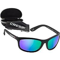 Cressi Rocker, Occhiali da Sole Polarizzati, Nero/Lenti Specchiate Blu