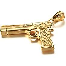 JewellryUS Joyería Acero Inoxidable Colgante Collar Militar Estilo Pistola Tribal Hombre