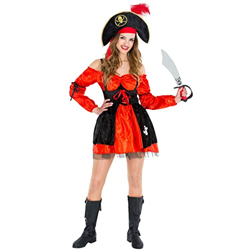 Damenkostüm Piratin | Kleid + Piratenhut | Captain Seeräuber Pirat Fasching (XXL | Nr. 300766)
