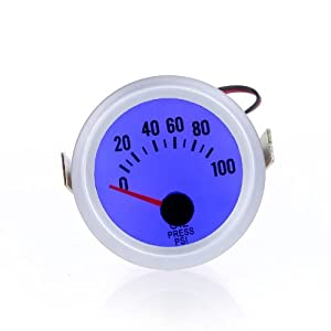 KKmoon Manómetro Presión Turbo Boost Medidor Indicador de Presión 52mm 2″ 52mm -1~2BAR con Azul LED Luz