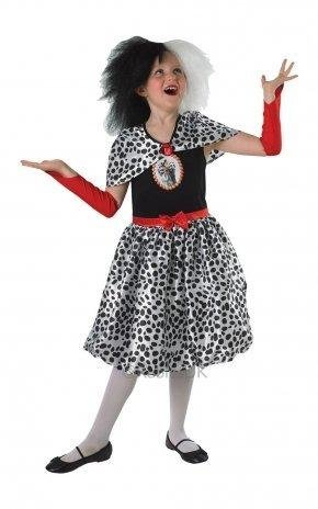 Generique - Cruella-Kinderkostüm für Mädchen Lizenz schwarz-Weiss-rot 140 (9-10 ()