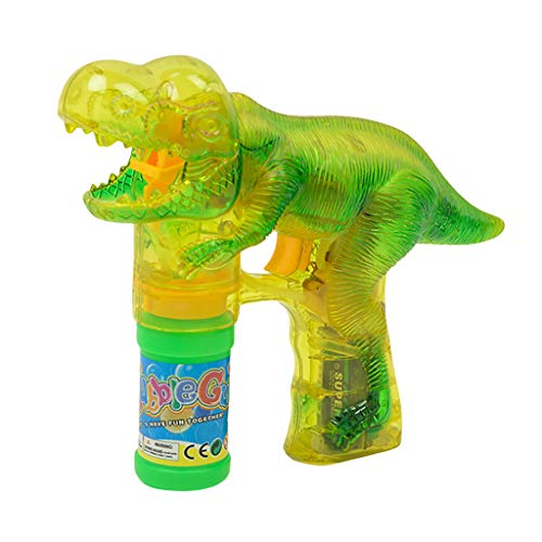 Dkings Jurassic Dinosaur Bubble Gun Bubble Machine Shooter Licht Gebläse mit Sounds Spielzeug für Kinder Mädchen Jungen, Extra Nachfüllflasche