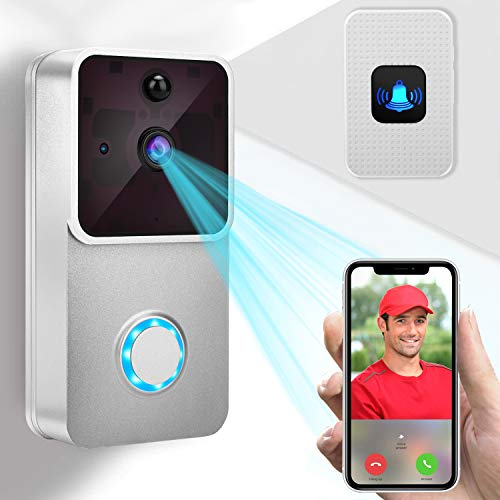 Video Türklingel,AWOW Video Doorbell 1080P HD Video Türklingel WiIFi kamera mit 16GB Speicherkarte 2 wiederaufladbare Batterie, IOS,Android Smart APP Fernbedienung über 2.4G WLAN