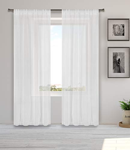 Home Maison Kasey Pole Top Metallic Textured Sheer Window Curtain Pair Drape for Living Room & Bedroom-Set of 2 Panels, 38 X 84 Inch, White & Gold