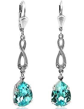 Jugendstil Ohrringe mit Kristallen von Swarovski® Damen - Silber Viele Farben - NOBEL SCHMUCK