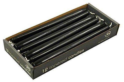 Kurze Spitzkerzen - Schwarz - Länge 25cm / Ø 2,3cm - 12 Stück im Pack - Hohe Brenndauer (8 Stunden) & Einwandfreies Brennverhalten - Altarkerzen / Leuchterkerzen - RAL Zertifiziert & Gleichmäßiges Abbrennen