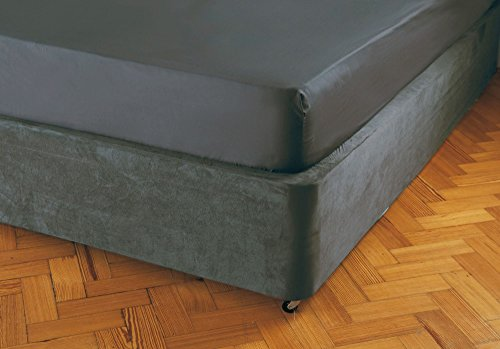 Belledorm Divan Bed Base Wrap Valance Sheet (Double Size, Charcoal) Transforms a drab looking bed base - Luxury Faux Suede