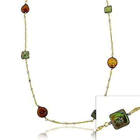Vermeil (24k Gold over Sterling Silver) Green & Brown Genuine Freshwater Cultured Coin Pearl Round & Square D-cut Twist Chain Long Dangle Necklace