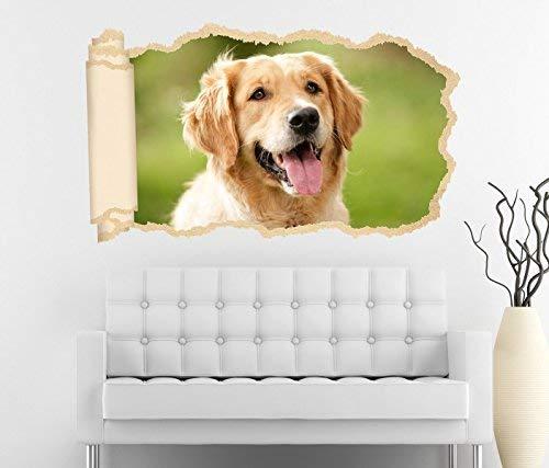 3D Wandtattoo Hunde Golden Retriever Hund Zunge Tapete Wand Aufkleber Wanddurchbruch Deko Wandbild Wandsticker 11N1197, Wandbild Größe F:ca. 97cmx57cm