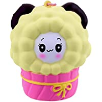 VLAMPO Squishy Stress Giocattoli Squishies Soft Slow Rising Scented Cup Sheep 3.14 '' (Bianco) (giallo)