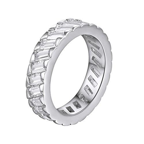 Anelli da eternità, fedi nuziali, anelli a fascia larga in oro bianco cz per donna taglia 22