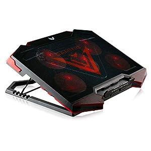 41TfvbuuftL. SS300  - SKGAMES Notebook Laptop Kühler Gamer Kühlpad Cooler Ständer Unterlage für 12-17 Zoll, 5 x LED Lüfter, 6 Stufen Höhenverstellung, Schwarz