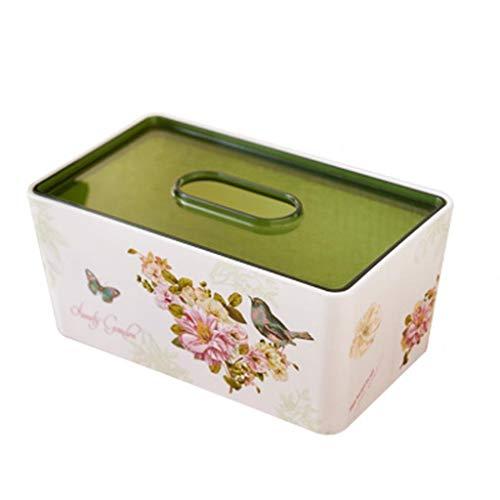 HYBKY Tissue Box Cover Rechteckig Tissue Box Kunststoff Tissue Box Cover Schlafzimmer Kommode, Nachttisch, Schreibtisch, Tisch, Rot/Grün Taschentuchhalter (Color : Green) -