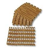 Alfombra puzle de Goma EVA para niños. Medida Total: 93 x 93 x 1 cm. con Bordes Lisos. Madera Color Roble / Cedro.