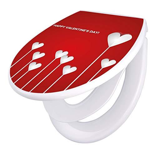 banjado Familien WC Sitz mit Absenkautomatik | Toilettendeckel mit Kindersitz | Klodeckel weiß | Toilettensitz mit Soft Close | 44 x 37 cm WC Deckel mit Motiv Happy Valentine
