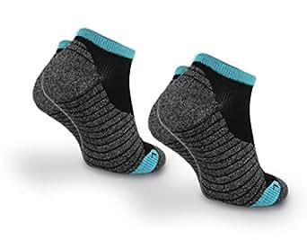 Davraz @Sport 2 Paar Lauf Socken mit Frottee Sohle Schwarz/Grau/Türkis Gr. 36-40