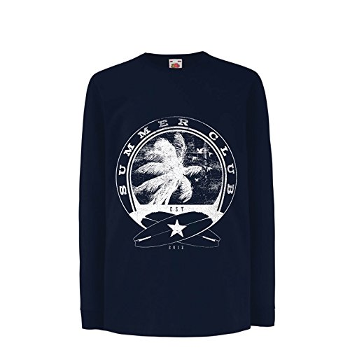 Kinder-T-Shirt mit Langen Ärmeln Sommerclub - Surfen - Surfbekleidung - Strandurlaubsort, Sommer Ferienoutfits (12-13 Years Blau Mehrfarben)