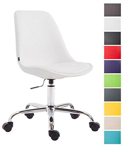 Clp sedia ufficio toulouse, in similpelle | sedia scrivania girevole e regolabile in altezza | sedia studio con telaio in metallo, max capacità di carico 136 kg, sedia imbottita | sedia con ruote, sedia computer con schienale bianco
