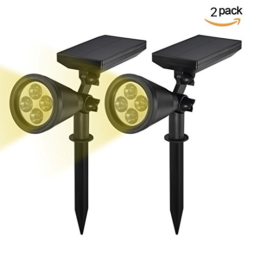 Solar Lights, B-right Solar Powered Warm White LED Landscape Spotlight, Waterproof Outdoor Wall Lights for Garden, Path, Yard, Patio, Driveway, LED Security In-ground Lighting (2 Pack)