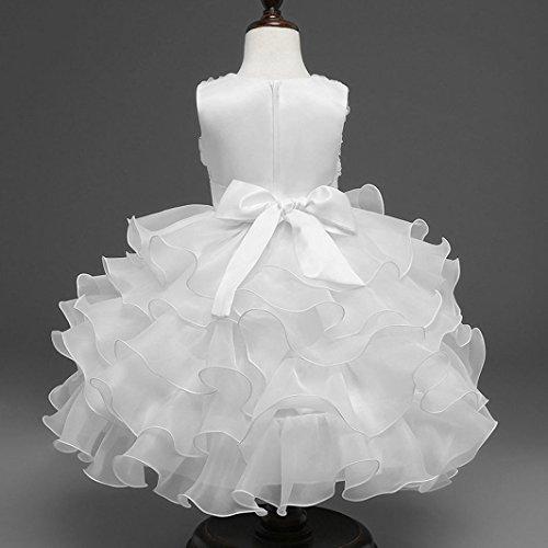 ❤️Kobay Kinder Baby Mädchen Blumen Geburtstag Hochzeit Brautjungfer-Festzug Prinzessin Abendkleid (70/0.5-1Jahr, Weiß) - 3