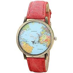 Montre Globale de Voyage par Carte Avion Bande de Tissu Denim Globe Travel Map Denim Montre à Quartz Intelligente Horloge Bracelet