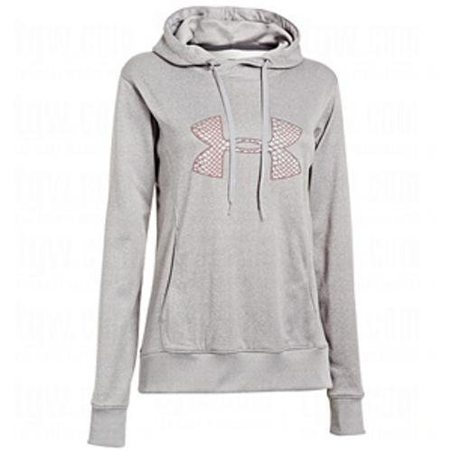 Womens Under Armour Armour Fleece Storm Pulse Big Logo Hoody, True Grey/Metallic Silver/Dark Grey , S -