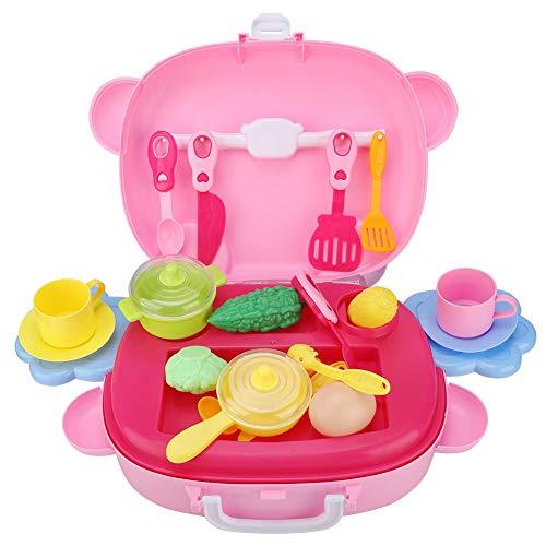 Zerodis Kinder Tragbare Küche Kochen Spielzeug Kit Pretend Rollenspiel Küche Kochen Set Frühe Entwicklung Pädagogische Lernspielzeug mit Tragetasche für Jungen Mädchen Geschenk (Kochen-kits Für Mädchen)