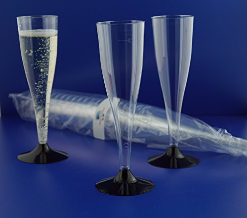 100 Stück SEKTGLÄSER -0,1 LTR. schwarz EINWEG Polterabend Sektempfang Sektkelch Proseccoglas von Gastro-Bedarf-Gutheil