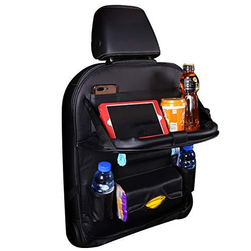 Savorlive Auto-Rücksitz-Organizer, faltbar, Esstisch-Halterung, Ablage aus strapazierfähigem Leder für Kinder, Spielzeug, Snacks, Flaschen, Reisezubehör, schwarz (Kinder-spielzeug-organizer-ablagen)