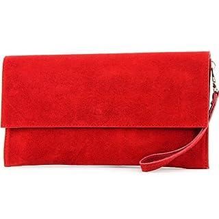 modamoda de - T151/M151 - ital. Clutch Wildleder/Leder Metallic, Farbe:Rot