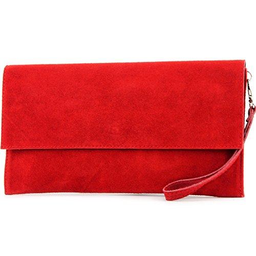 modamoda de - ital Tasche Clutch Klein aus Wildleder T151, Präzise Farbe:Rot