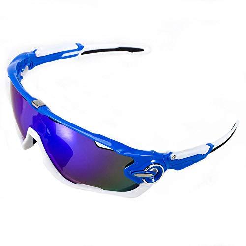 ACS1986 Polarisierte Sport-Sonnenbrille mit austauschbaren Lenes für Männer Frauen Radfahren Laufen Fahren Angeln Golf Baseball Brillen (4-Farben-Wechselobjektiv) (Weiß und Blau 1)