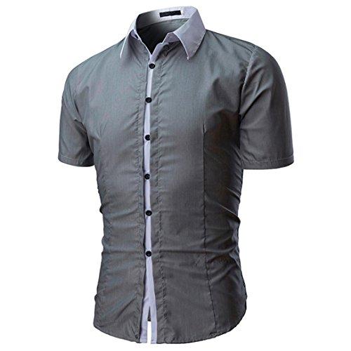 Camicetta da uomo,yumm t-shirt uomo elegante slim fit teeshirt camicia polo tee camicie maglia a manica corta maglione felpe hoodie tops pullover (gy, l2)