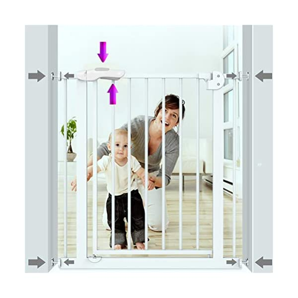 GFYWZ Pet Safety Gate for Baby Dog Cat or Other Pets for extra-wide openings, with no threshold and one-hand operation,75~86cm GFYWZ ◆ Measure your opening before purchasing: This gate fits openings 65 to 74cm/75 to 84cm. It will not fit any opening smaller than 65cm. If your opening is larger than 84cm you will require an additional purchase of an extension. ◆ One handed operation - the one handed operation is fantastic for times when you're holding your child and the double locking feature ensures extra security to help keep your child safer. ◆ To be installed on the wall or door, Functional, lightweight and portable,Convenient walk-through design 8