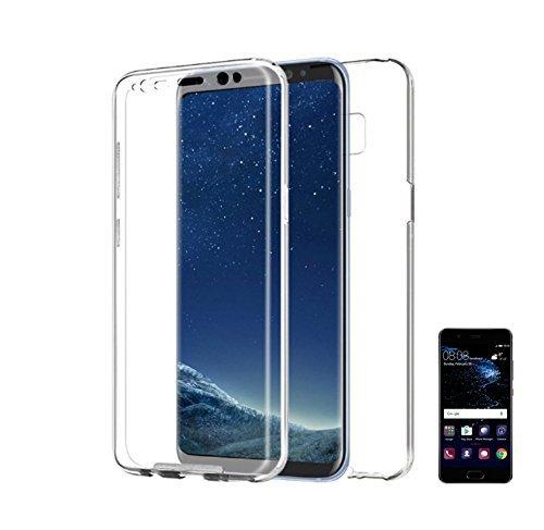 PLANETMOVIL [ Huawei P Smart ] Funda Doble Cara 360 de Silicona Delantera + Trasera TPU rigido Doble 100% Transparente Dos Caras Funda Enteriza y Completa